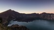indonesian active volcano mount rinjani,the second highest volcano in indonesia timelapse from night to day
