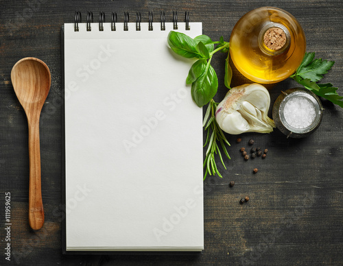 Fototapeta paper blocknot and food ingredients obraz