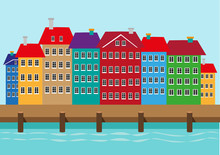 Colorful Houses Along A Boat Dock Or Harbor. Nyhavn Waterfront District In Copenhagen Denmark Illustration. Editable Clip Art.