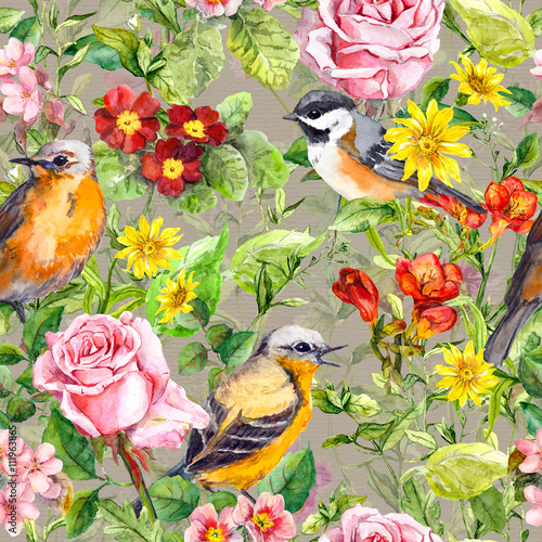 Poster Parrot Flowers, meadow grass, birds. Vintage seamless floral pattern. Watercolor