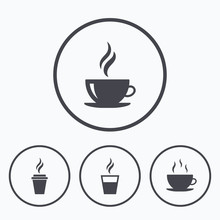 Coffee Cup Icon. Hot Drinks Gl...