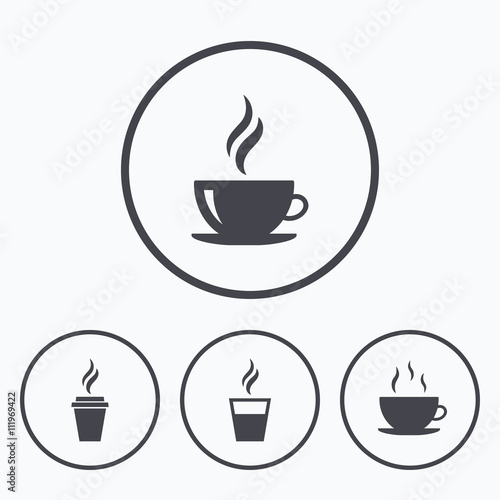Obraz Coffee cup icon. Hot drinks glasses symbols. - fototapety do salonu
