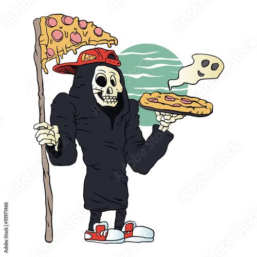 Fotobehang Piraten Pizza delivery reaper grim,