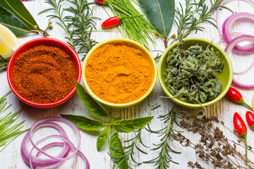 FototapetaDry colorful spices in bowls with fresh seasoning on white