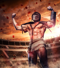 Fototapeta Militaria Blody gladiator after fight on colosseum arena.