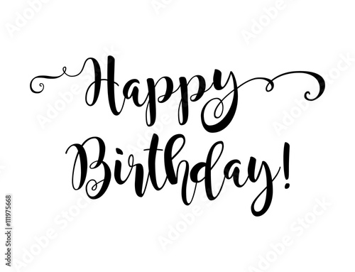 Happy Birthday Beautiful Greeting Card Poster With Calligraphy Black Text Word Hand Drawn Design