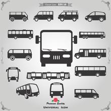 Vector Set Of Different Bus Or Van Symbols
