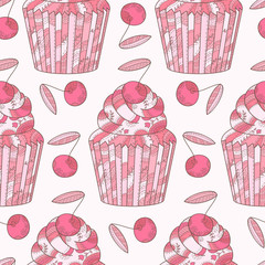 Panel Szklany Owoce Abstract seamless pattern with cherry and cupcakes