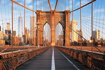 FototapetaBrooklyn Bridge at sunrise, New York City , Manhattan