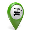 Green map pointer icon with a bus symbol for public transport, 3D rendering