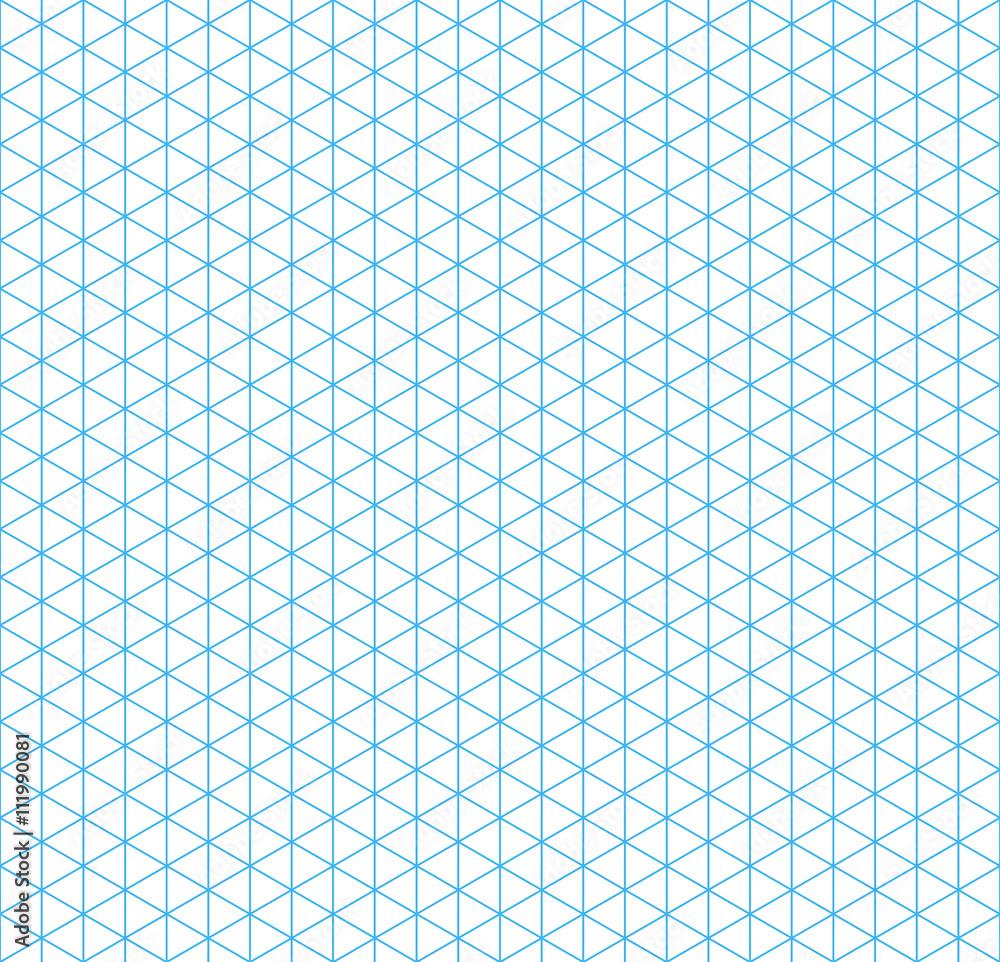 Fototapeta Cyan isometric grid with vertical guideline, seamless pattern