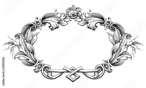 Fototapeta Vintage Baroque Victorian frame border monogram floral engraved scroll ornament leaf retro flower pattern decorative design tattoo black and white filigree calligraphic vector heraldic shield swirl obraz