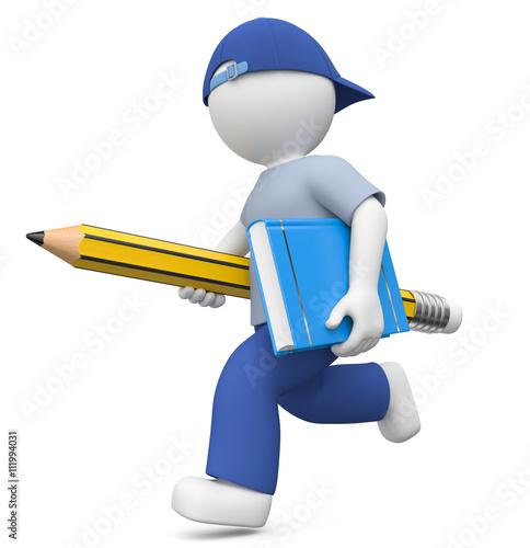3d Männchen mit Bleistift und Buch auf dem Weg zur Weiterbildung in der Uni..Bildung in Schule und Beruf sind sehr wichtig.