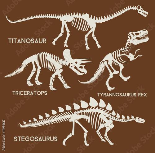 Fototapeta premium Dinosaurs silhouettes set. Vector flat set illustration