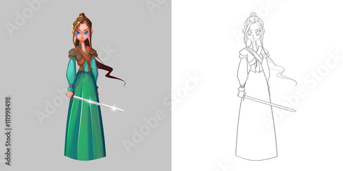 Photo  Coloring Book and Princess Girl Character Design Set 3 Ancient Chinese Princess