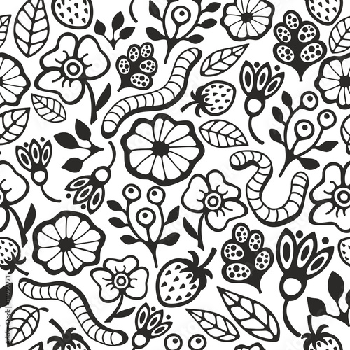Poster Floral black and white Black and white seamless pattern for coloring.