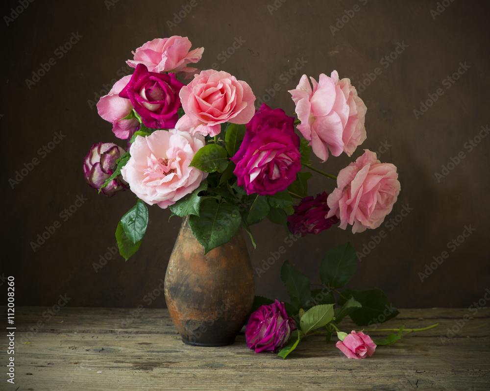 Obraz Still life with roses fototapeta, plakat