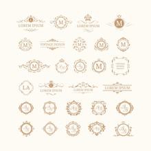 Set Of Elegant Floral Monogram...
