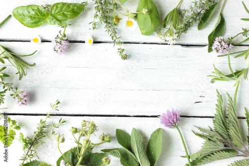Fotografie, Obraz  essbare Blüten Kräuter Wildkräuter Tisch Holz Top View