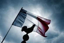 Drapeau Français France Tricolor Coq Symbole Emblême Républiq