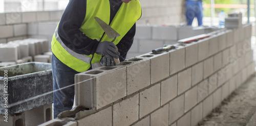 Photo  Masonry walls of the foam block.