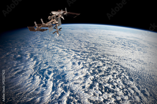 Deurstickers Nasa Satellite planet Earth ocean international meteorology telecommunication outer space station iss. Elements of this image furnished by NASA.