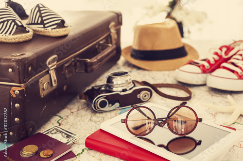 Canvastavla Ready vacation suitcase, holiday concept