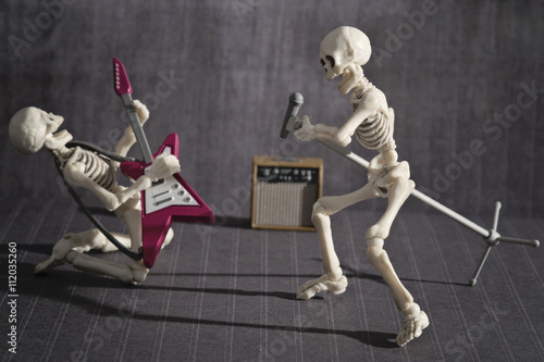 Two skeletons playing rock music Tablou Canvas