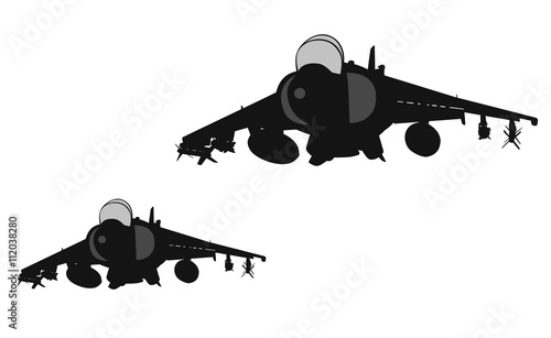 Photo  Air strike. Jets flying. Vector silhouettes