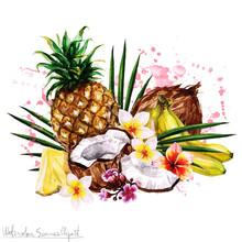 Watercolor Summer Clipart - Tropical Fruit