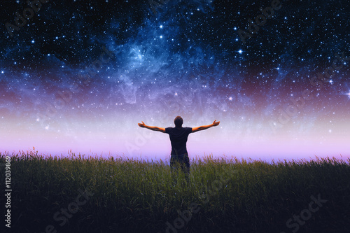 Fotomural Mans silhouette. Elements of this image furnished by NASA.