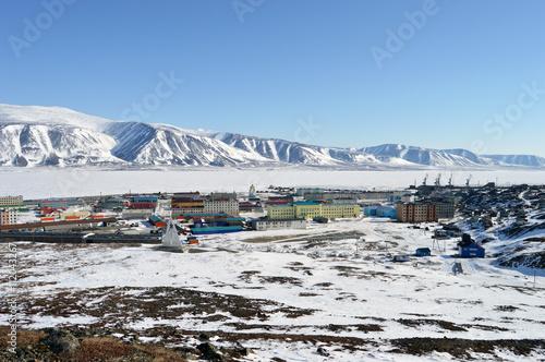 Fotobehang Antarctica Чукотский поселок Эгвекинот зимой