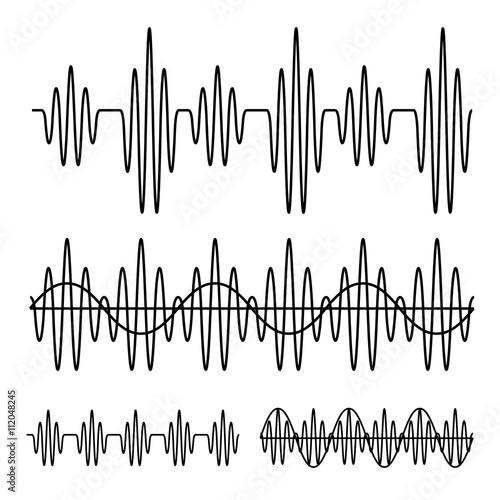Fotografia, Obraz  sinusoidal sound wave black line vector