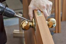 Installation Door Knob With Lock,woodworker Screwed Screw, Usi