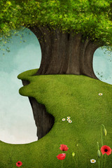 Fantasy illustration or background with  large oak tree on  cliff