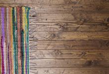 Rag Rug On Wooden Floor
