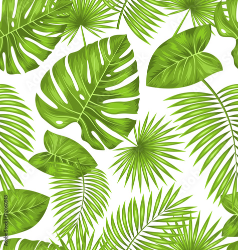 Cotton fabric Seamless Texture with Green Tropical Leaves