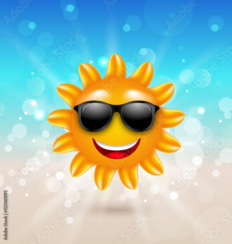 b43f877897 Abstract Hello Summer Background with Cheerful Summer Sun in Sunglasses