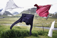 Hikers Clothes Drying On Cloth...