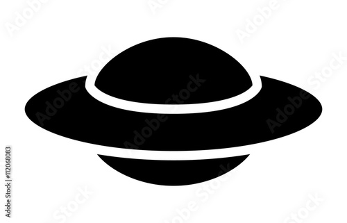 UFO alien saucer - unidentified flying object flat icon for apps and websites Poster