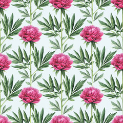 Fototapeta Watercolor peony flowers illustration. Seamless pattern