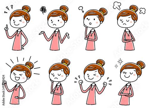 Fotografie, Obraz  イラスト素材:若い女性 感情 バリエーション
