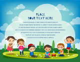 kids playing in the park vector cartoon