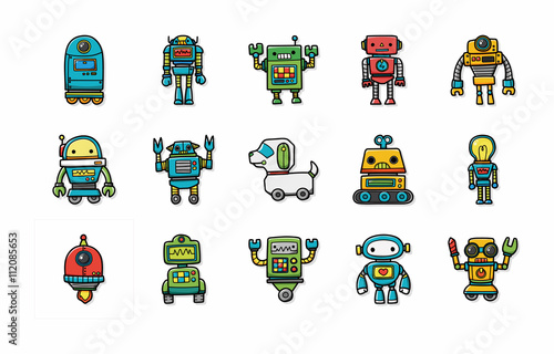 Garden Poster Robots Manufacture robot icons set,eps10