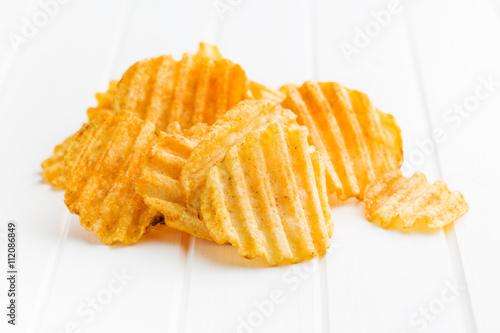 Fotografia, Obraz  Crinkle cut potato chips.