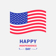 Happy independence day United states of America. 4th of July. Waving American flag. White background. Isolated. Greeting card. Flat design.