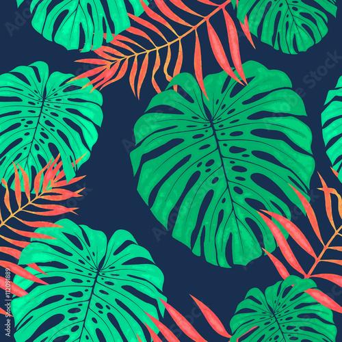 Materiał do szycia Monstera pozostawia wzór. Tropikalny wektor ilustracja botaniczna.