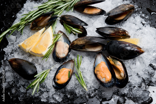 Fresh crude seafood. Mussels in a cockleshell Fototapet