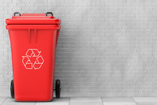 Red Garbage Trash Bin. 3d Rendering