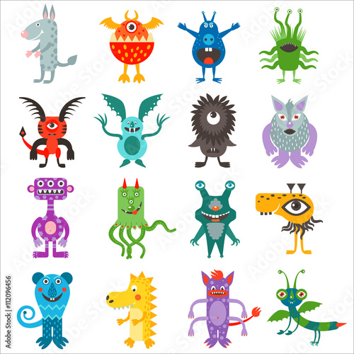Poster Chambre d enfant Cartoon cute color monsters aliens collection.